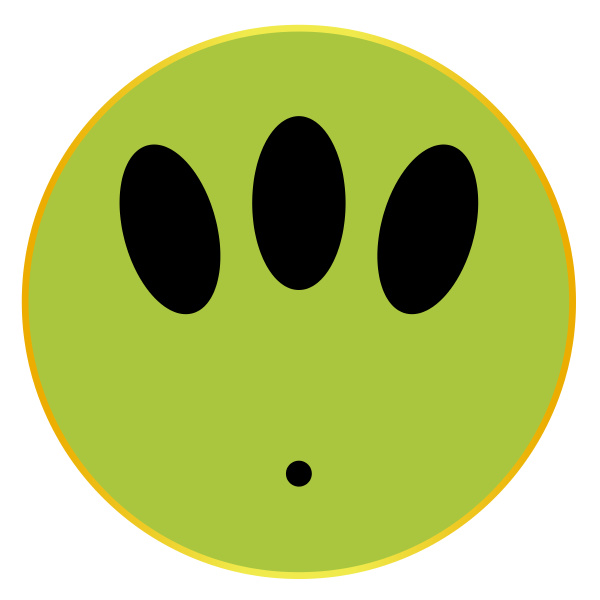 alien smile face button isolated