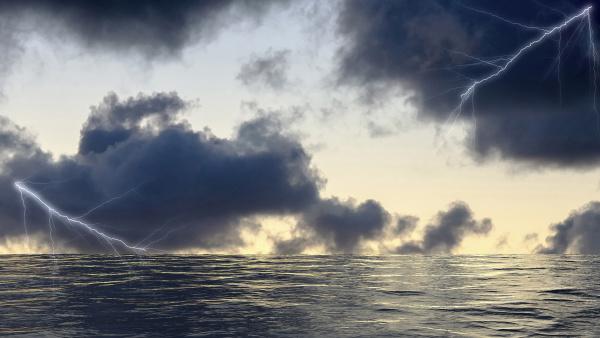 lightning strikes on the sea surface