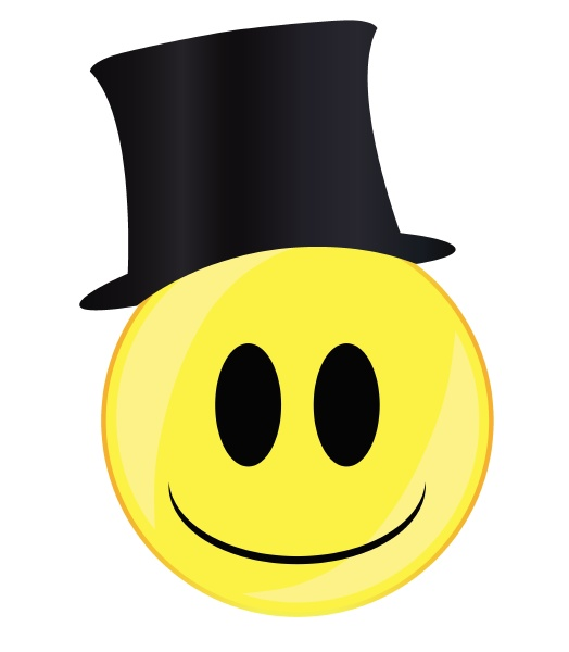 posh smile face button isolated