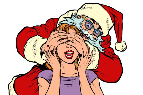 surprise gift santa claus character christmas