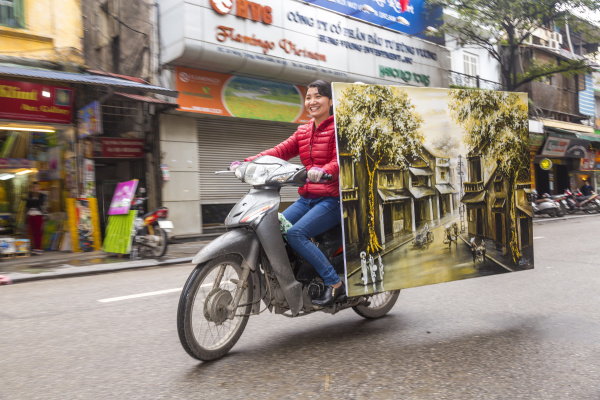 painting of vietnam village being delivered