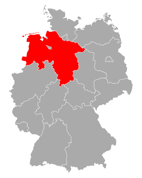 map of lower saxony in germany