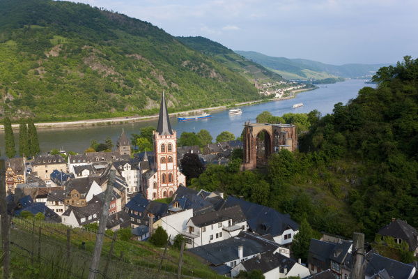 view over bacharach and river rhine