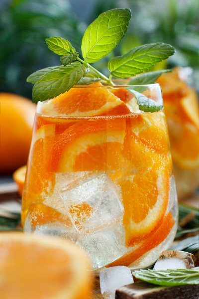 homemade refreshing drink with soda and