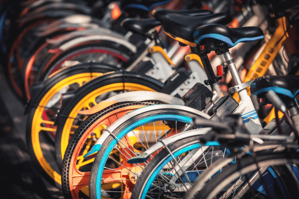 share electric bikes parked on the