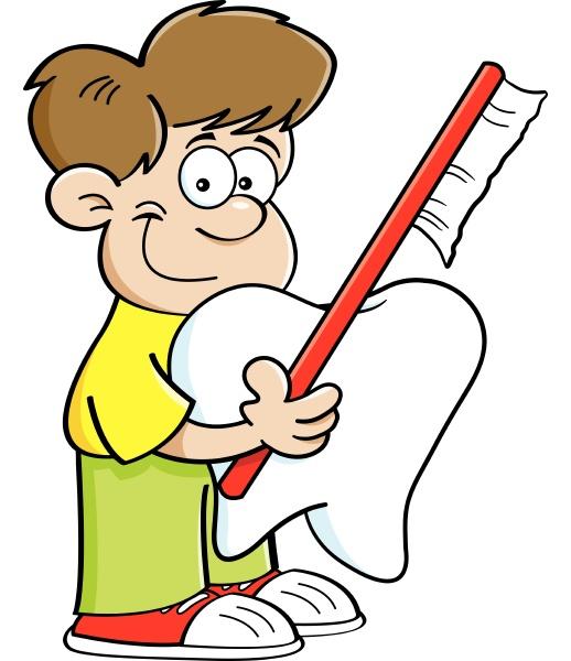 cartoon illustration of a boy holding