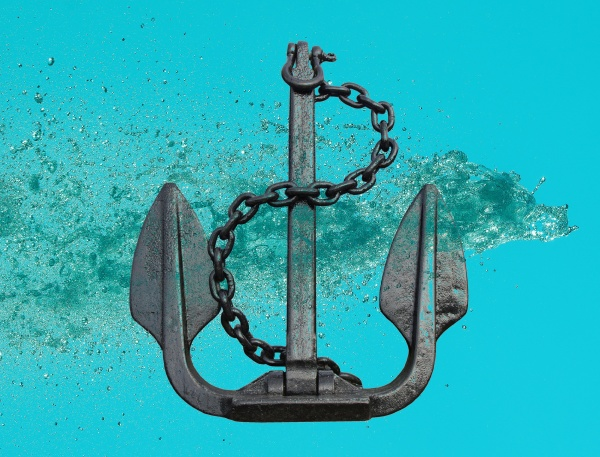 water flow splash and anchor