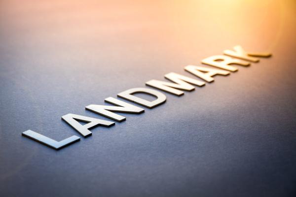 word landmark written with white solid
