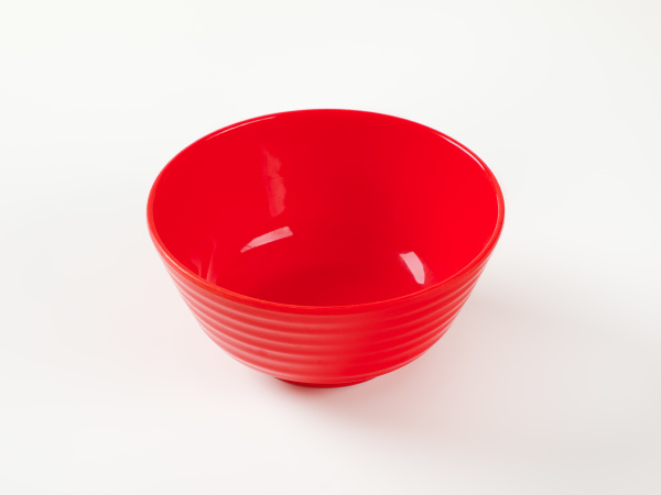 red plastic bowl