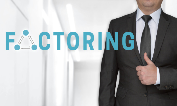 factoring concept and businessman with thumbs
