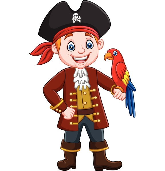 cartoon captain pirate with macaw