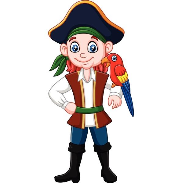 cartoon captain pirate with macaw bird