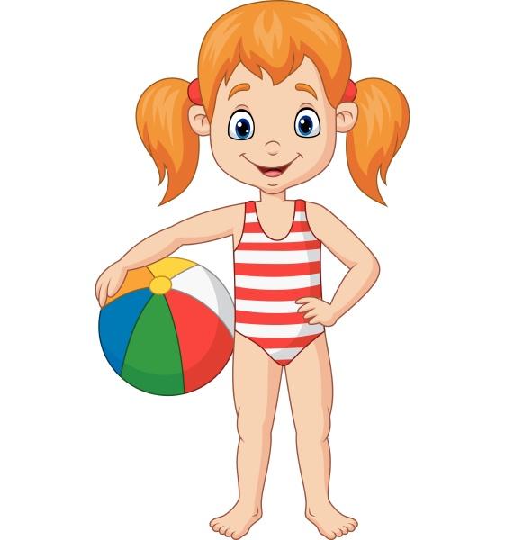 cartoon happy girl holding a beach