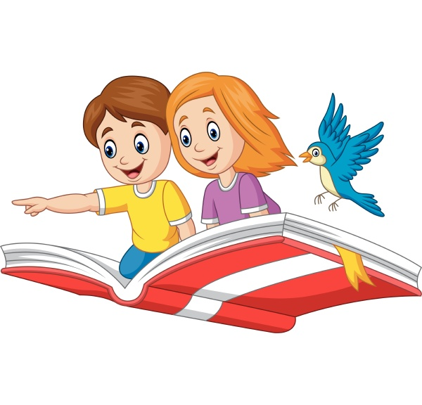 boy and girl flying on a
