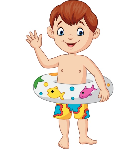 cartoon little boy with inflatable ring