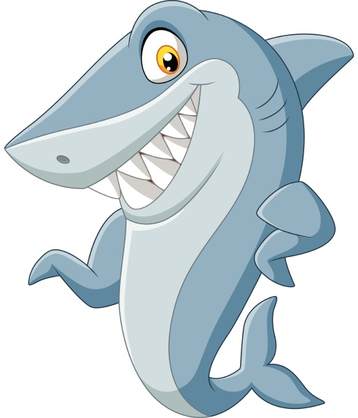 cartoon shark waving