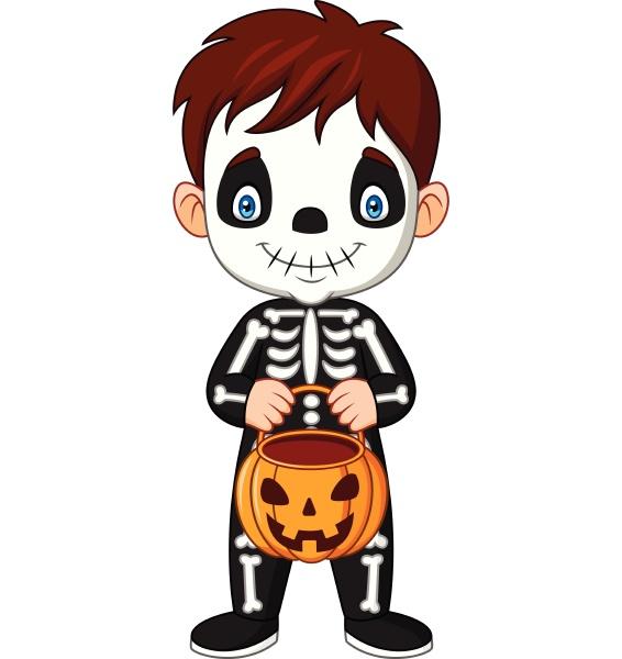 cartoon kid with skeleton costume holding