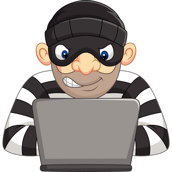 hacker thief in mask stealing personal