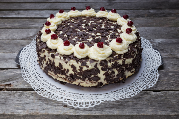 black forest cake pie on gray