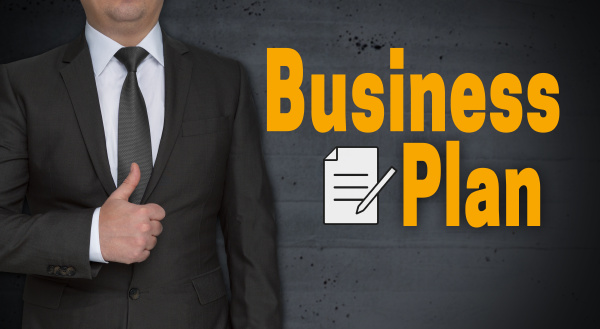 business plan concept and businessman with
