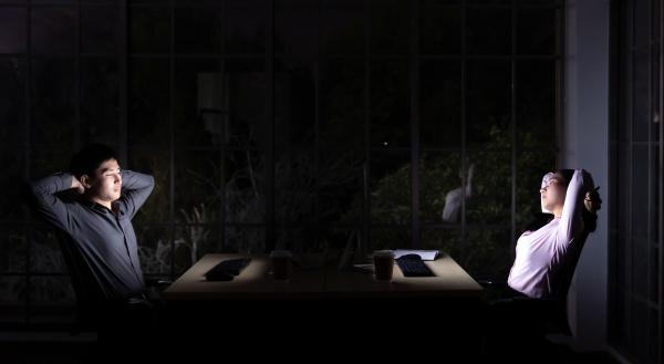 working late at night streching