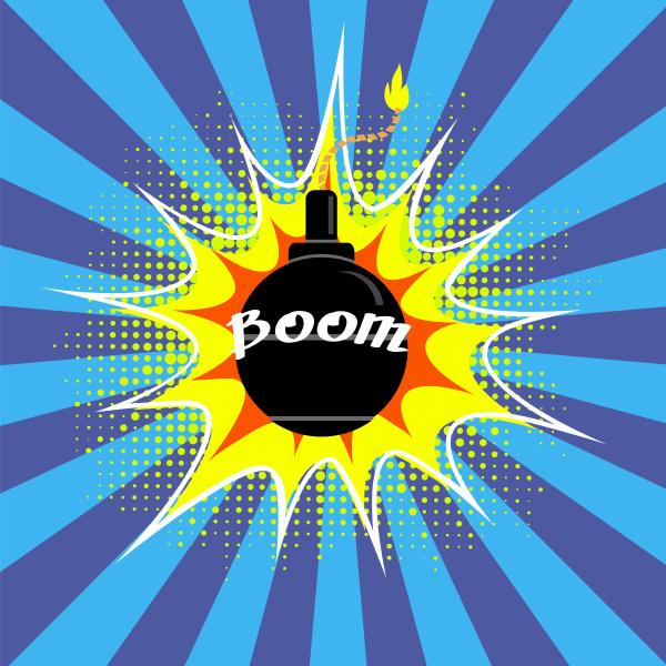 black burning bomb icon explode flash