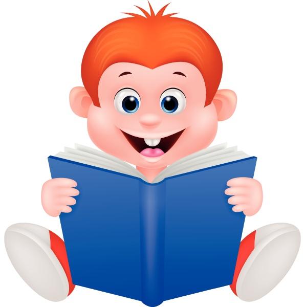 a cartoon boy reading a book