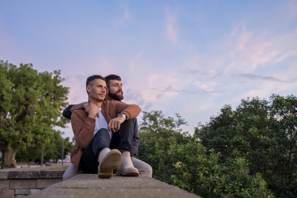 affectionate gay couple sitting on a
