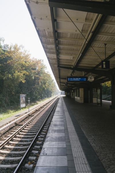 empty railway station in autumn
