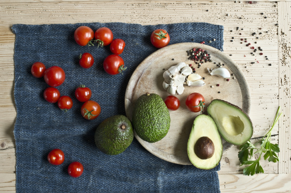 directly above shot of avocados with