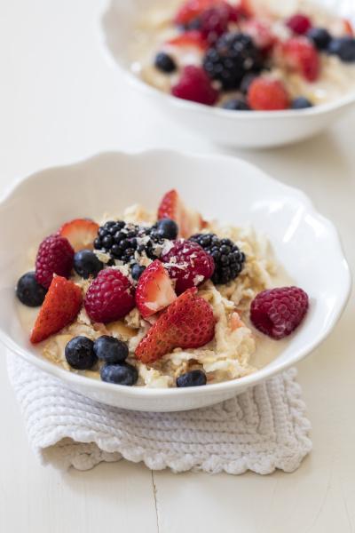 bowls of fresh vegan muesli with