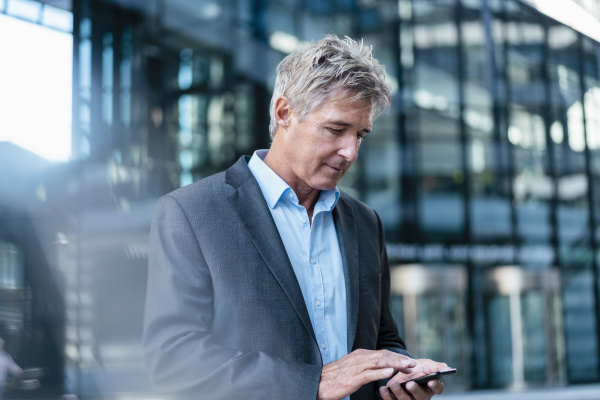 mature businessman using cell phone in