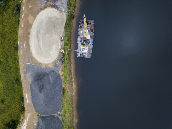 aerial view of barge in volga