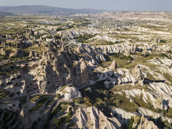 aerial view of uchisar castle and