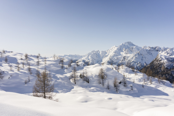 mountain landscape with fresh snow