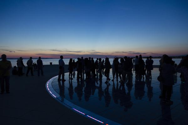 croatia zadar silhouettes of people visiting