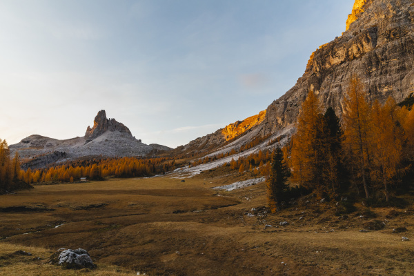 autumn mountain landscape at the morning