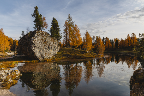 autumnal mountain landscape reflected in the