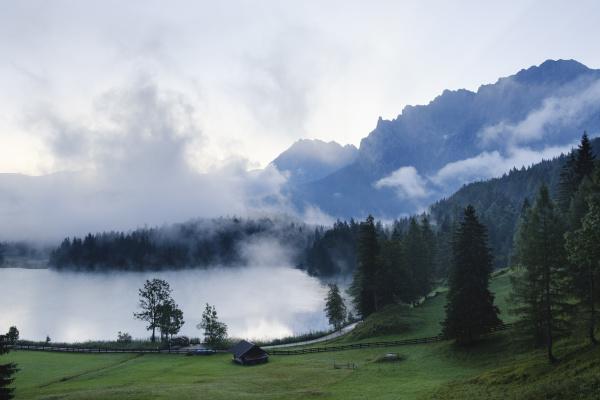 germany bavaria mittenwald misty morning at
