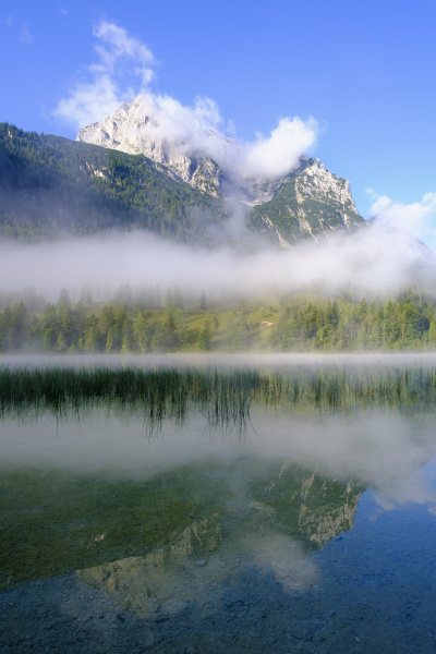 germany bavaria mittenwald thick fog floating