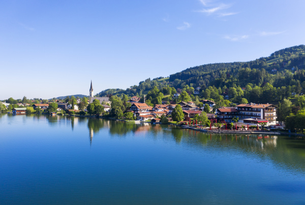 village by lake at schliersee against