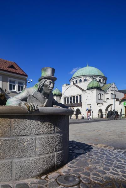 slovakia trencin vodnik fountain with trencin