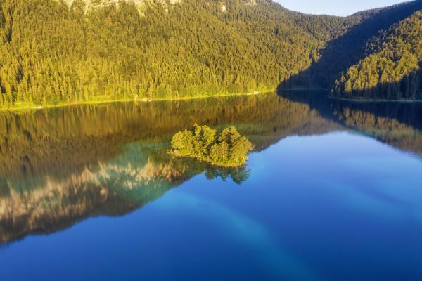 ludwig island at eibsee lake near