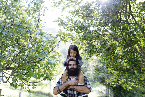 portrait of father with kid on
