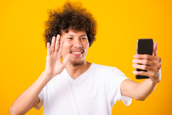portrait asian handsome man curly hair