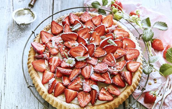 close up of homemade strawberry tart