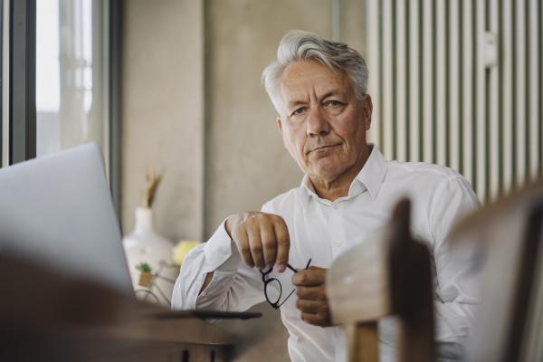 portrait of senior businessman with laptop