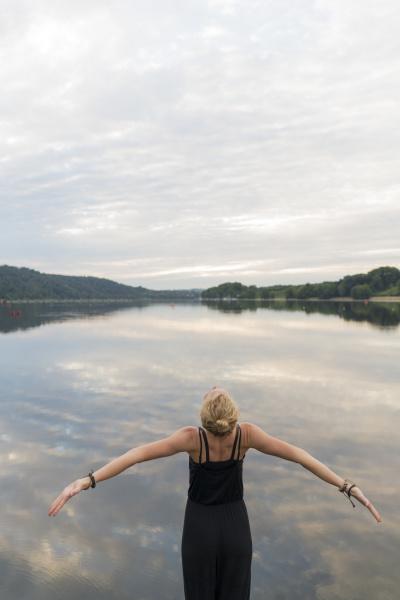 young woman at a lake woth