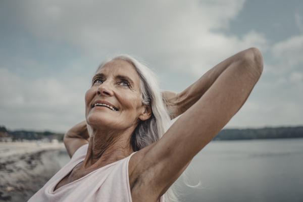 senior woman at the sea portrait