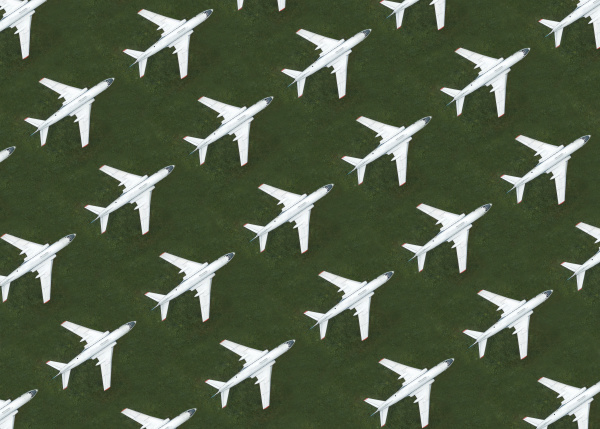 aerial view of rows of airplanes